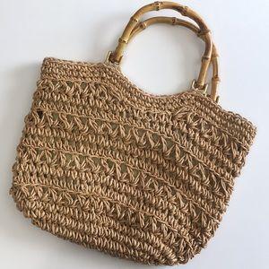 Straw Woven Macrame Bamboo Handled Bag